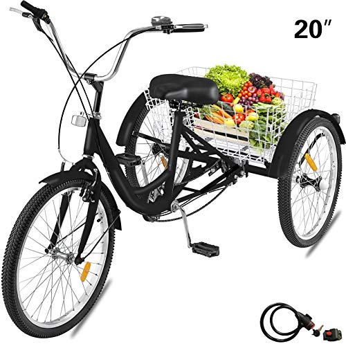 Happibuy Adult Tricycle 1 Speed 7 Speed Size Cruise Bike 20 Inch Adjustable Trike with Bell, Brake System Cruiser Bicycles Large Size Basket for Recreation Shopping Exercise (Black/1 Speed)