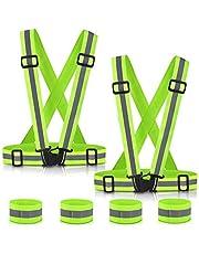 Warnwesten ,Adkwse Warnweste Gurt Reflektorweste Einstellbar Fahrrad Warnweste mit Reflective Cuffs für Herren,Damen(2er Packs)