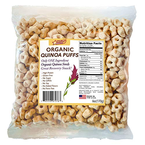 Awsum Snacks Organic Quinoa Star Puffs Cereal 6oz bag Gluten Free Snacks Puffed Quinoa Seeds Whole Foods Healthy Vegan Snacks Diabetic Pop High Protein And Fiber Crunchy Chips No Sugar Snack Pops