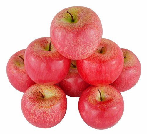 JEDFORE 8Pcs Simulation Artificial Lifelike Fake Red Apple Set Fake Fruit for Home House Kitchen Wedding Party Decoration -