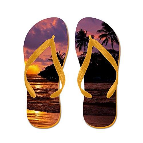 Cafepress Spiaggia Tropicale - Infradito, Sandali Infradito Divertenti, Sandali Da Spiaggia Arancione