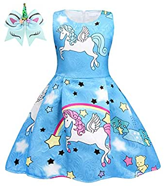 HenzWorld Flower Girls Unicorn Costumes Pageant Dress Halloween Princess Party Birthday Cosplay Outfits Accessories