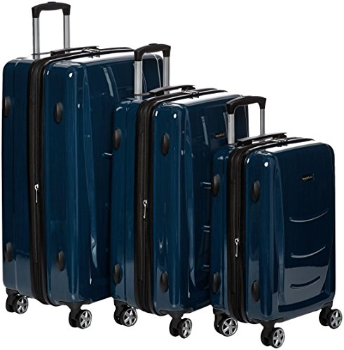 AmazonBasics Hardshell Spinner, 3 Piece Set - 20'', 24'', 28'', Navy Blue by AmazonBasics