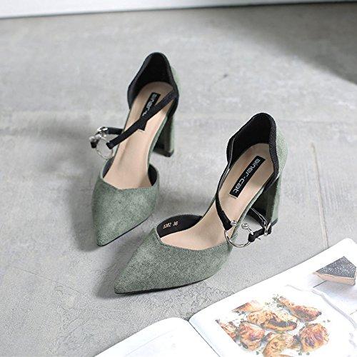 cacciavite e tacchi scarpe Il 35 punta scarpe Verde grassetto a il alti donna scarpe i singolo con wtnt5SPqHx