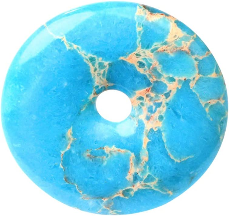 SUPVOX 40mm 1pc 40mm colgante de jaspe piedra preciosa donut colgante retro forma de rosquilla colgante de jaspe duradero joyería de jaspe (azul claro)