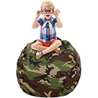 CALA Stuffed Animal Storage Bean Bag Chair- EXTRA LARGE 38 Kids Soft Toy Storage - 100% Cotton Canvas Bean Bag Chair(Camouflage)