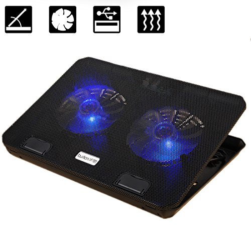 Laptop Cooler Cooling Pad BUJIAN Ultra-Slim cooling pad Adjustable Laptop With 2 US Powered Fans (12-15.6 Inches) (A-T150)