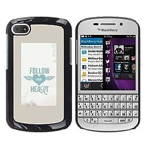 FlareStar Colour Printing Follow Your Heart Tattoo Poster Ink Blue cáscara Funda Case Caso de plástico para BlackBerry Q10