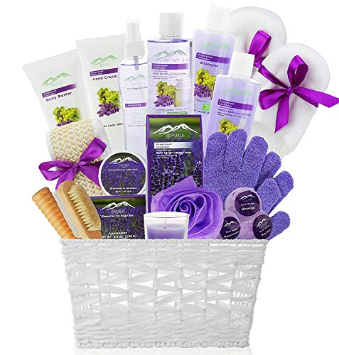 Deluxe XL Gourmet Spa Gift Basket with Essential Oils. 20-Piece Luxury Bath & Body Gift Set with Bath Bombs, Bubble Bath & More! Huge Gift Set for Her, Holiday Gift (Grapeseed & Lavender) ()