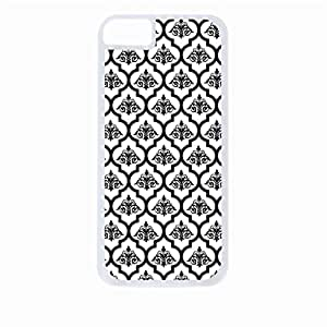 Black Damask and Lattice Pattern- Hard White Plastic Snap - On Case with Soft Black Rubber Lining-Apple Iphone 5c Only - Great Quality!