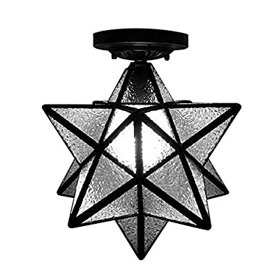 "BAYCHEER HL399367 12"" Diamond Star Shape Flush Mount Ceiling Light Hanging Lighting Lamp use E26 CFL Light Bulb for Indoor Lighting Restaurant Barn"