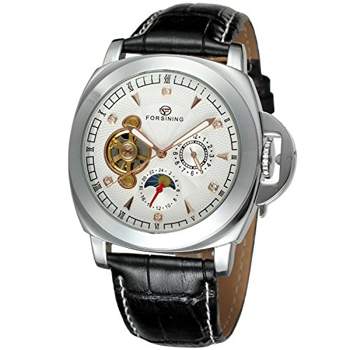 Forsining Men's Stylish Style Automatic Self-winding Moon Phase Wrist Watch with Brand Leather