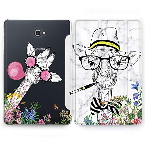 Wonder Wild Giraffe in Glasses Samsung Galaxy Tab S4 S2 S3 A E Smart Stand Case 2015 2016 2017 2018 Tablet Cover 8 9.6 9.7 10 10.1 10.5 Inch Clear Design Animals Portrait Party Funny Smile Creative