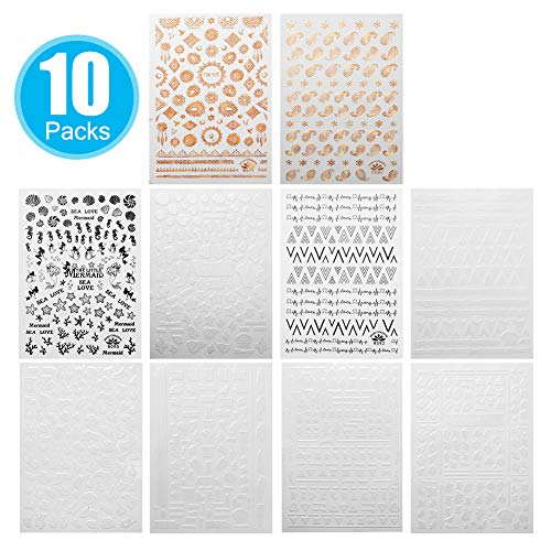 Nail Art Stickers Super-thin Decals,Paste on Nails 10Pack -Christmas/Animal,Letters,Leaves,Shell,Starfish ect
