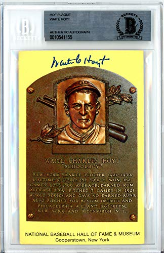 Waite Hoyt Signed Auto HOF Plaque Postcard New York Yankees Beckett Certified