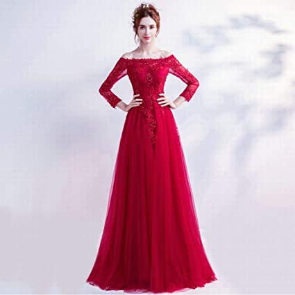 Long Sleeved Wedding Dresses.Amazon Com Yt Er Elegant Temperament Red Lace Long Sleeved
