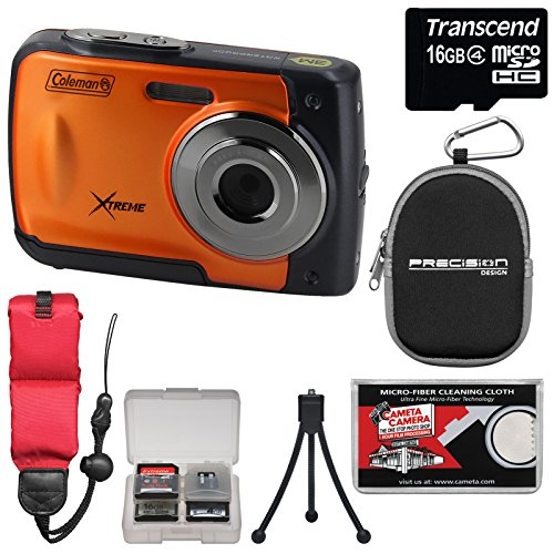 coleman-xtreme-c20wp-shock-waterproof-hd-digital-camera-orange-with-16gb-card-case-floating-strap-tr