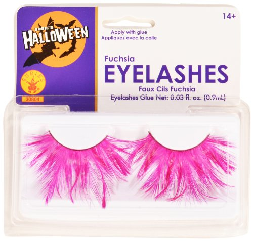 [Rubies Fuchsia Eyelashes and Adhesive] (Family Themed Fancy Dress Costumes)