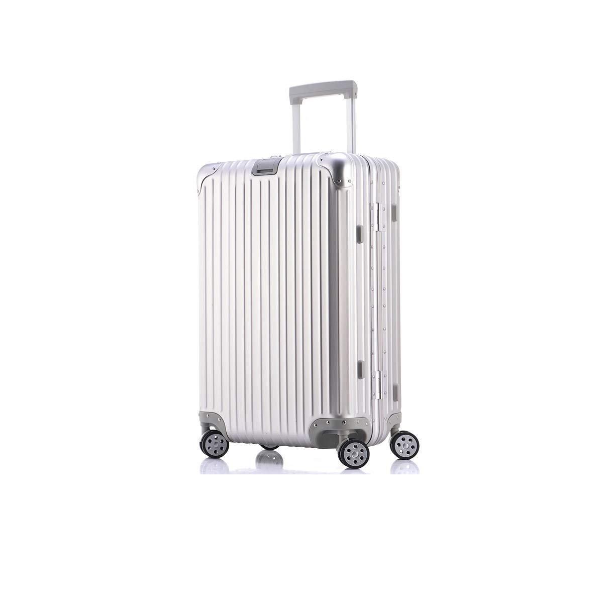 Fengkuo すべての金属アルミマグネシウム合金トロリーケースユニバーサルホイール女性純赤スーツケース20インチビジネススーツケースハードカラーブラックシルバーサイズ47 * 35 * 20 cm スーツケース  シルバー B07QN35QC7