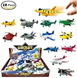 Set of 12 Pull Back Airplanes Vehicle Playset - Variety Pack of Helicopters, Stealth Bombers, Fighter Jets, Aircraft and More!