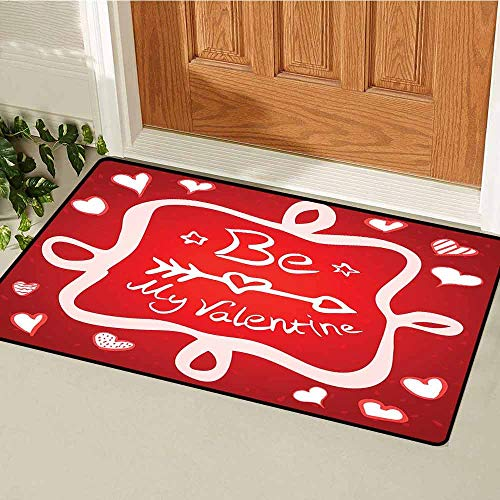 Gloria Johnson Romantic Front Door mat Carpet Traditional Greeting Card Design with Abstract Heart Shapes and an Ethnic Arrow Machine Washable Door mat W19.7 x L31.5 Inch Scarlet White (Dog Won T Poop In The Snow)