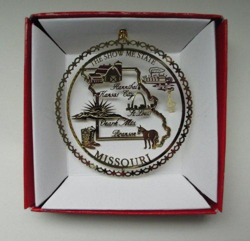 Missouri State Brass Christmas ORNAMENT Souvenir Gift St. Louis Kansas City Branson Ozark Mts