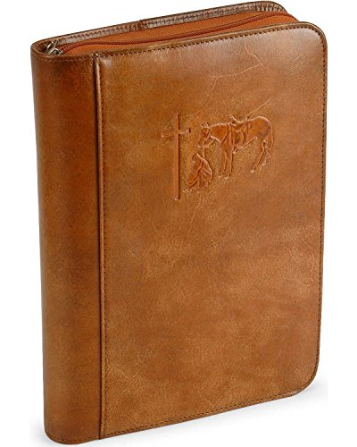 M & F Western Unisex Cowboy Prayer Leather Bible Cover Brown One Size