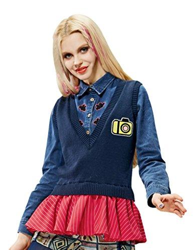 Elf Sack Womens' Spring Pullover Sweater Sleeveless V-neck Badge Floucing Hem Small Size Blue