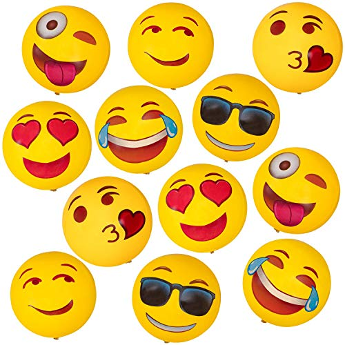 (Geefuun 12 PCS Emoji Inflatable Beach Balls Pool Party Toys Supplies Birthday Game Favors 12inch)
