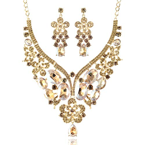 LAN PALACE African Jewelry Sets 18k Gold Glass Rhinestone Necklace and Earrings for Wedding (Champagne)