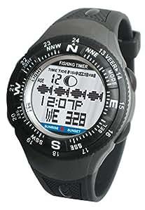 Inovalley Fishermans - Reloj de pulsera (cronógrafo, alarma con sonido o vibración, retroiluminación azul, calendario, temporizador, 30 memorias, horario de mareas, horario de salida y puesta de sol, fase lunar), color negro