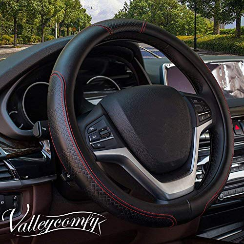 - Valleycomfy Steering Wheel Covers Universal 15 inch - Genuine Leather, Breathable, Anti Slip & Odor Free (15