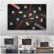 HuaFan Sushi en Fondo Negro Imagen Lienzo Impreso Pintura Pared Arte Cartel para Sala de Estar Restaurante Coc