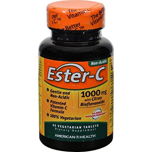 American Health Ester-C with Citrus Bioflavonoids - 1000 mg - Non Acidic - 45 Vegetarian Tablets (Pack of 2) (Tabs Vitamin Ester C 45)