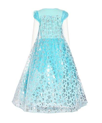 Loel Girls Long Sleeve Snowflake Elsa Cosplay Costume
