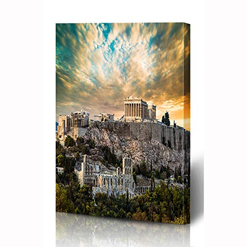 Ahawoso Canvas Prints Wall Art 12x16 Inches Vacation Blue Greece Parthenon Acropolis Athens Under Dramatic Sunset Ancient Plaka Sky Athena Wooden Frame Printing Home Living Room Office -