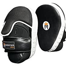 Meister Cowhide Leather Curved Focus Mitts w/ Wrist Support (Pair) by Meister MMA