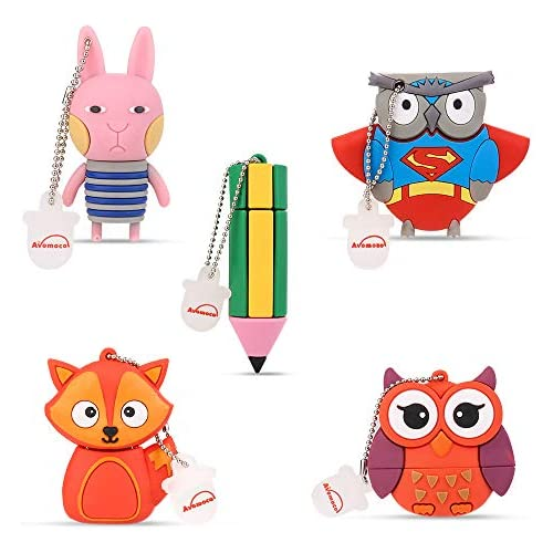 Avomoco 5X16GB 2.0 Cartoon Waterproof USB Flash Drive Cute Memory Stick Stitch Thumb Drive Data Storage Pen Drive Cartoon Jump Drive Flash Drive Gifts for School Kids and Students.(Pack of 5 Style)