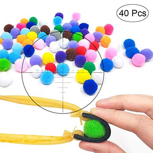 TOPRADE Multiple Color Felt Ball/Fuzzy Ball Cotton Pellets Slingshot Ammo Safe for Children