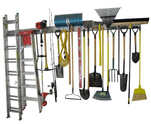 Holeyrail, Garage Storage System, Garage Organizer, Commercial Quality, Industrial Strength, Prefinished Steel Rail, 8 Feet Total Length, Can use Standard Peg Hooks (not Included)