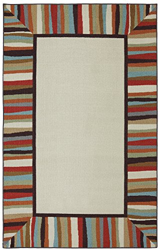 Mohawk Home Rainbow Striped Border Indoor/ Outdoor Patio Printed Area Rug, 7'6x10', Multicolor - Patio Border Rug