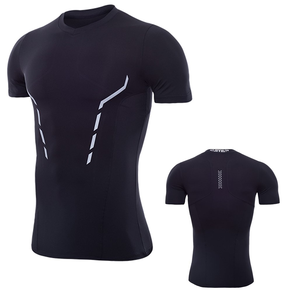 laventoメンズCool Dry圧縮ベースレイヤーVネック半袖Runningシャツm3507 B07CBRY96S Medium 1 Pack-3507 Black 1 Pack-3507 Black Medium