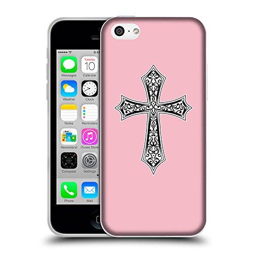 GoGoMobile Coque de Protection TPU Silicone Case pour // Q09190630 Croix chrétienne 29 Rose // Apple iPhone 5C