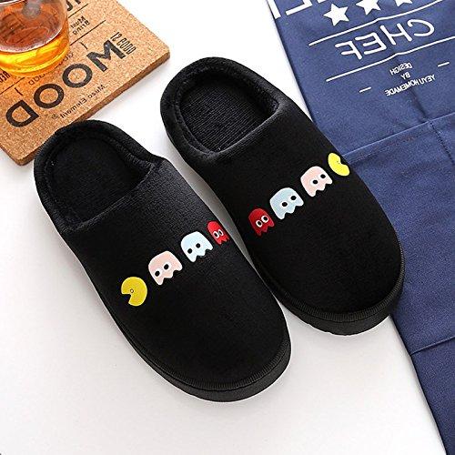 Inverno habuji pantofole di cotone cartoon femmina antiscivolo morbidi shoes home interni accoglienti scarpe maschio, 35-36, nero