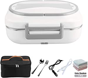 YOUDirect Electric Heating Lunch Box 12V and 110V Dual Use Food Heater Car Home Office Use Portable Food Warmer with Extra Insulated Lunch Bag (Gray)