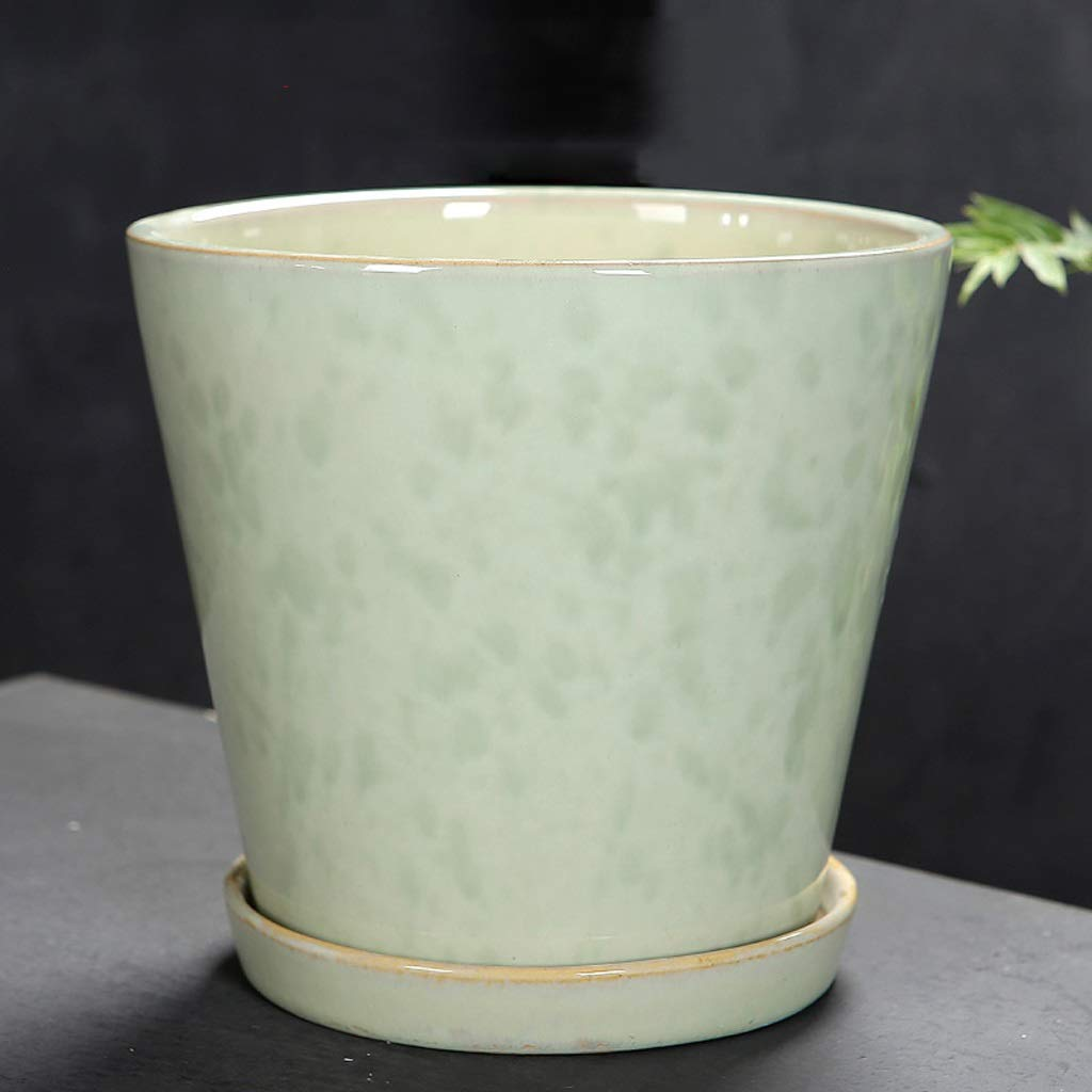 prezzi all'ingrosso CKH Ripiano del Tavolo di Ceramica verde Semplice del del del Vaso del Fiore del Leopardo del Leopardo Respirabile con Il Vaso di Fiore del Vassoio ceramico (Dimensione   M)  Garanzia del prezzo al 100%