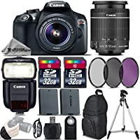 Canon EOS Rebel T6 DSLR Camera + 18-55mm IS Lens + Canon Speedlite 430EX III RT + 64GB Storage + Backup Battery + UV-CPL-FLD Filter Kit + Wrist Grip Strap + Wireless Remote - International Version