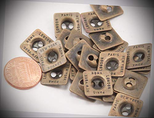 JumpingLight 24 Antiqued Brass Tone Square Metal Buttons London Paris NY Roma 9/16'' 14mm 7031 Perfect for Crafts, Scrap-Booking, Jewelry, Projects, Quilts