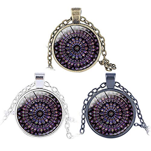 STARmoon 3Pcs Rose Window Stained Glass Paris Cathedral Pendant Necklaces Jewelry