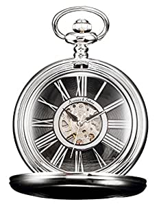 HELMASK pocket watch - Alloy Silver Round mens Analog Mechanical Hand-winding Full hunter Pocket Watch